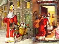 Szent Miklós - Mikulás ajándékokkal a gyermekek számára.