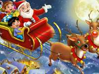 Santa Claus and Rudolf. - The arrival of Santa Claus and cheerful children with reindeer.