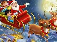Babbo Natale e Rudolf. - L'arrivo di Babbo Natale e allegri bambini con le renne.