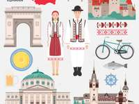 Picturesque Romania - The Romanian folk costume, some cultural buildings and the country's insignia