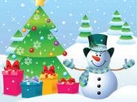 A hóember és a fenyő - A karácsonyfa és a hóember kívül van, és gyönyörűen díszített