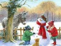 Boldogság - Hóembert építenek a ház hátsó udvarába, ló és szamár kíséretében.