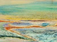 сини и бели океански вълни