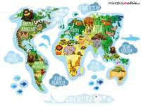 World map - World map with animals living on the continent