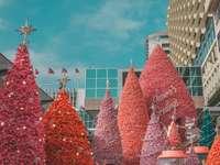 duże czerwone choinki - duże czerwone choinki w pobliżu biało-niebieskich wieżowców pod błękitnym i białym niebem. B