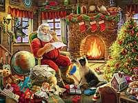 Père Noël avec des cadeaux au coin du feu