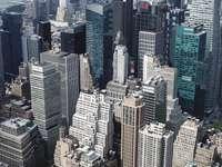 Flygfoto över stadsbyggnader - Byggnader i New York, fågelperspektiv. New York, USA