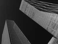 lågvinkelfotografering av grå byggnadsillustration - Byggnader belägna i Yeouido, Seoul. Yeouido i Seoul är som New Yorks Manhattan, en affärsstad.