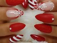 technique de peinture - ongles pour Noël