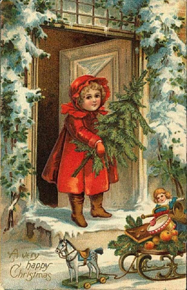 Holčička u dveří - Holčička u dveří si hraje s panenkou (7×12)