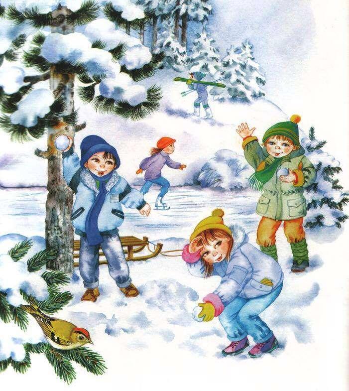 la joacă cu zapada - Copii care se joacă cu zăpadă (3×4)
