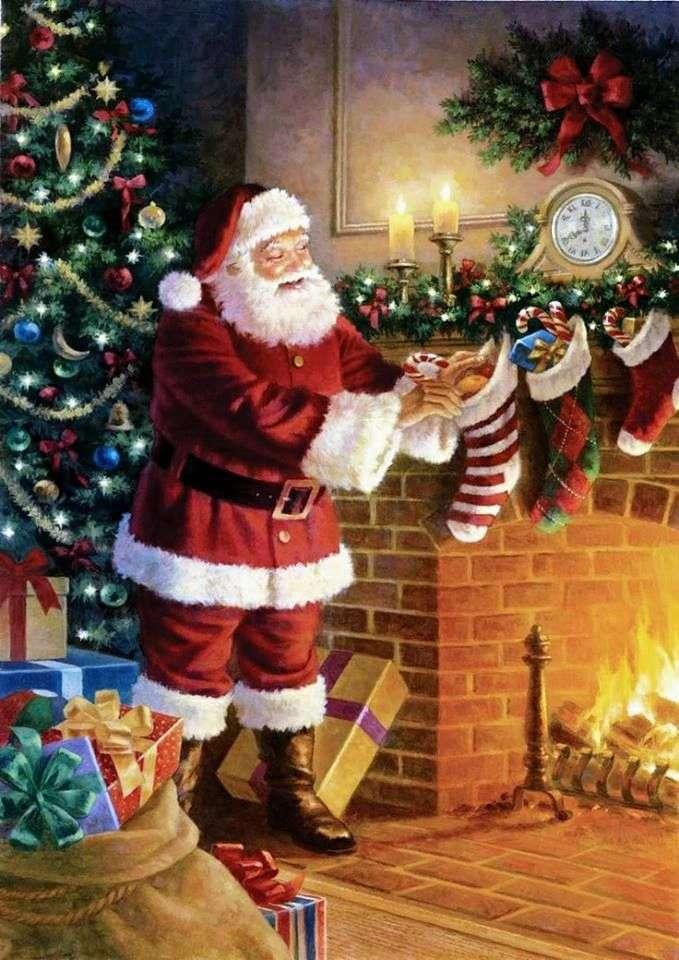 St. Nicolas - St. Père Noël mettant des cadeaux dans ses chaussettes (3×5)