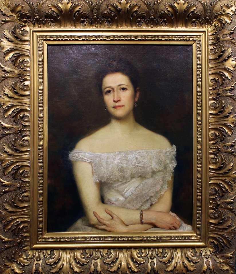 portrait de Maria Pstrokońska - Peinture de Z. Andrychiewicz de la collection du musée du district de Sieradz (7×9)