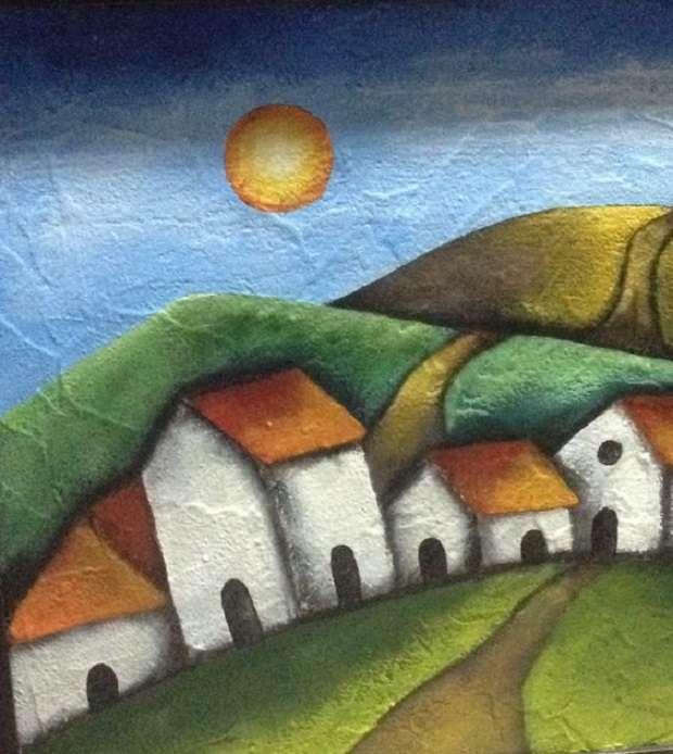 casas brancas e colinas - paisagem de casas e colinas (8×9)