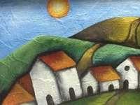 casas brancas e colinas
