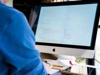 persona frente al monitor mientras escribe durante el día