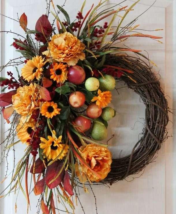 στεφάνι από λουλούδια και φρούτα παζλ