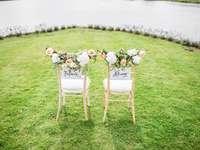 duas cadeiras decorativas em um campo de grama perto de um corpo d'água