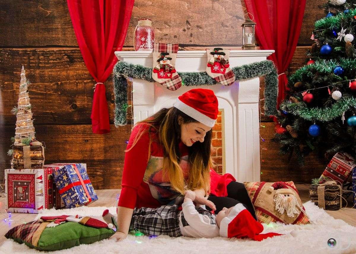 Photo de Noël - Photo sur un thème de Noël - mère et enfant (9×7)