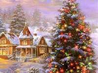 Gemälde Weihnachten in Winterlandschaft