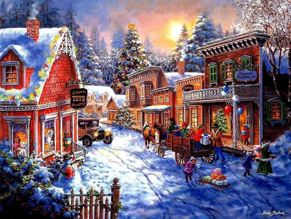 Pintar la Navidad en un pueblo pequeño
