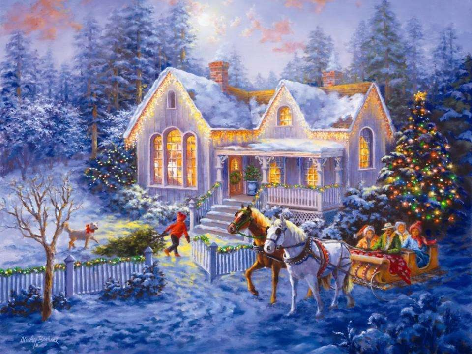 Malování Vánoc na venkově (14×11)