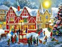 Peinture de Noël en ville