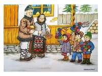 Kinderen met sorcova in het dorp