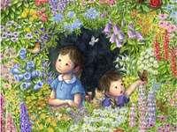 děti ztracené in květinách