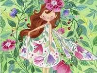 dívka jako motýlek in květinách