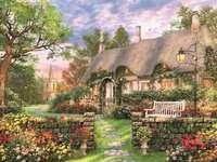 Gemälde Cottage und Kirche