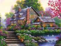 Painting Cottage and Pond