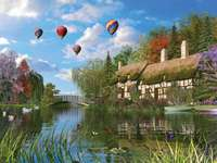 Painting houses on the lake hot air balloons