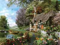 Schilderij huisje aan het meer