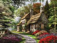 Painting cottage in the woods