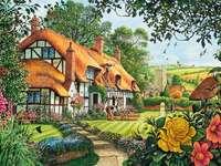 Casa di pittura con villaggio e chiesa