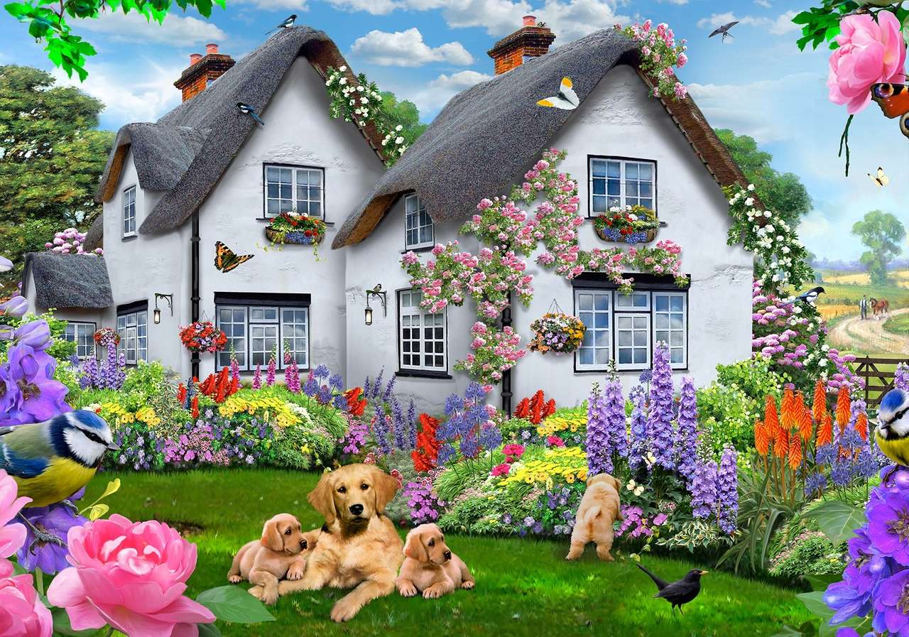 Ikerház festése az országban kutyákkal