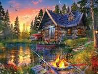 maison dans les bois près du lac