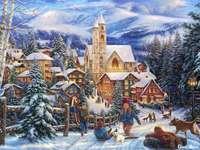 Sneeuw In De Stad En Kinderen Op De Slee