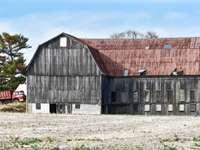 сива дървена сграда през деня