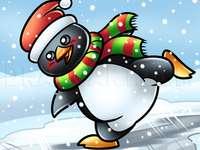 Pinguino Sul Pattinaggio Sul Ghiaccio