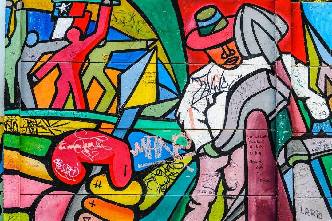 červená modrá a žlutá abstraktní malba