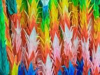 pomarańczowy, niebieski i zielony malarstwo abstrakcyjne