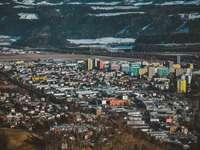 въздушна снимка на града