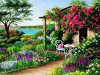 Garten mit Pavillon voller Blumen