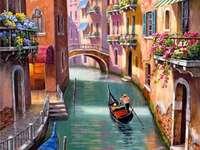 Gondole del canale laterale di Venezia