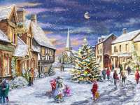 zima, miasteczko, ludzie, lepienie bałwana