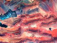 pintura abstracta azul y marrón