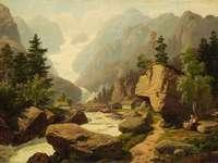 Alpine landscape with a glacier