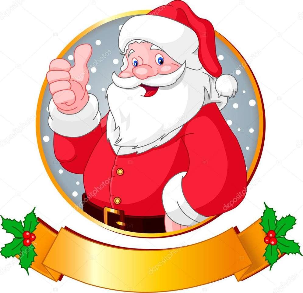 Îmbină piesele și spune ce imagina ai obținut - Moș Crăciun cu plete dalbe (2×2)